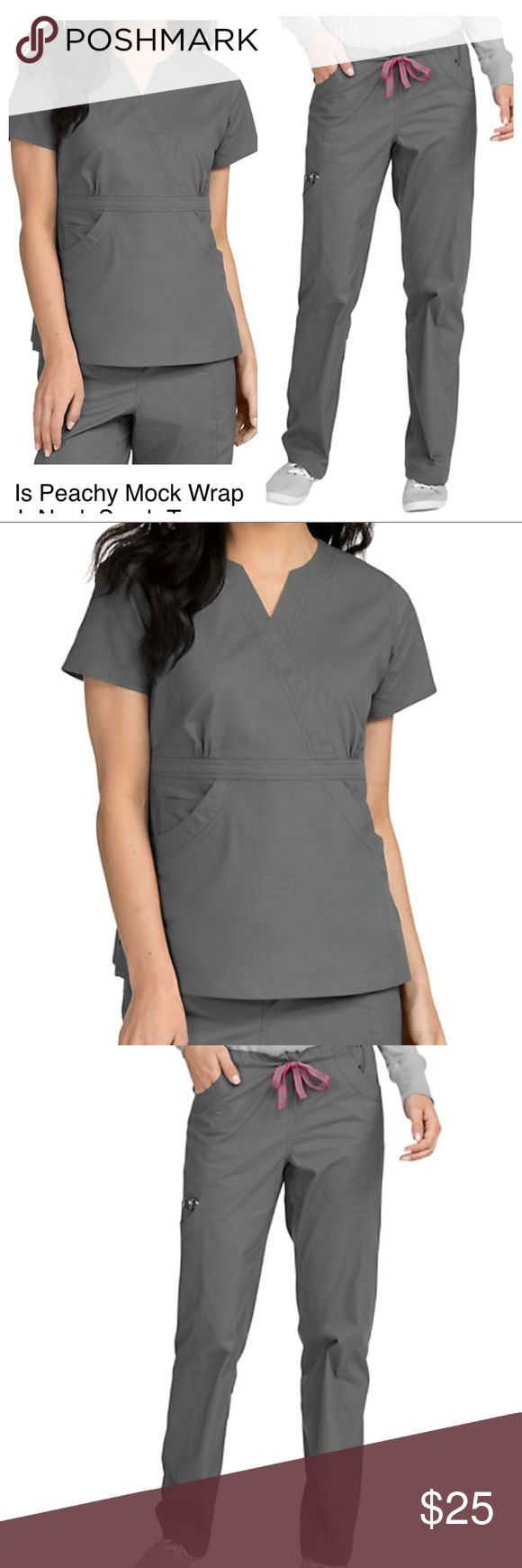 NWOT Life is Peachy steel grey scrub set Grey scrubs. Scrub set. Both size xs. New without tags. Washed after buying and decided I didn't like the style on me. Comfortable material and no flaws. Life is Peachy Pants Boot Cut & Flare