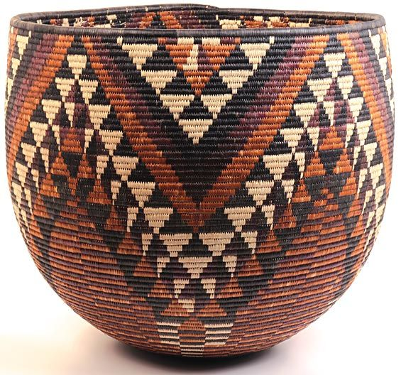 Africa | Iqoma bowl basket from the Zulu people of South Africa | These types of baskets traditionally are used in the Zulu homes or Kraals for storage or for carrying things on top of one's head. //