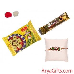 Send the best rakhi wishes to your dearest brother and show how much you will miss them on this Raksha Bandhan.Beautiful Leaf Petals Designer Rakhi with 5-Star Crunchy (33 gm )and Soan Papdi(Chocolate Flavour) 250gm.Rakhi design may differ as per the stock available. We offer free pack of Roli & Chawal along with Rakhis.