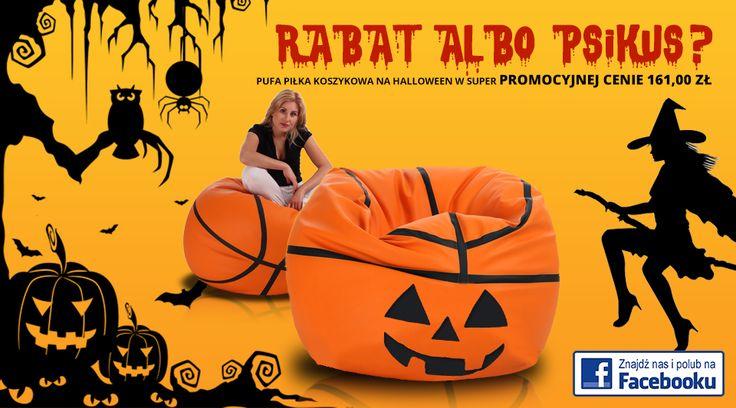 Rabat albo psikus!  Nie mamy cukierków, ale mamy rabaty. Pufa piłka koszykowa za 161 złotych! Nie daj się żartownisiom, uważaj na czarne koty i latające nisko czarownice - zostań w domu i ciesz się naszą pufą!  #halloween #rabatalbopsikus #piłkakoszykowa #pufapiłka #fotel #czarownice #woreksako #jackolantern #dynia #lampion #dekoracjehalloweenowe