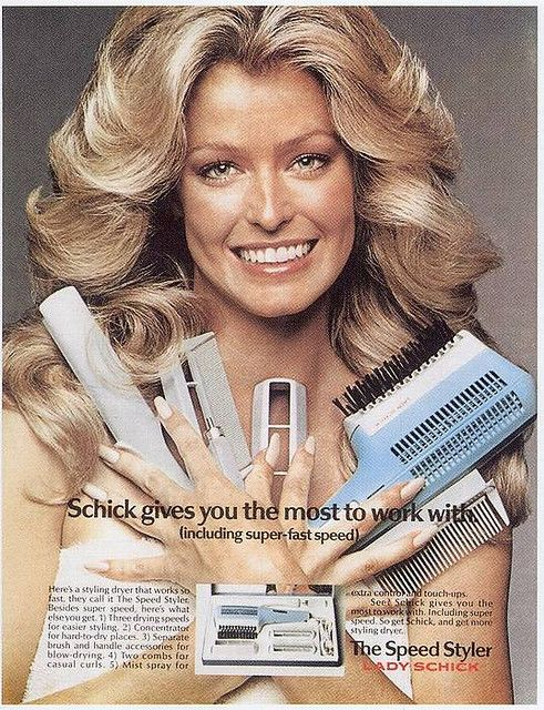 Farah Fawcett for Schick hair styling products.