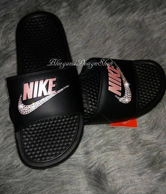 quality design 4efab 21661 Swarovski Bling Nike Womens Benassi Sandals Shoes with ...