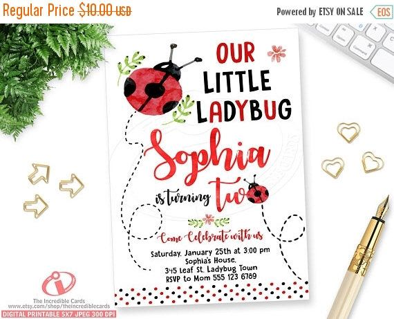 50% OFF SALE Ladybug, Lady bug Invite, Ladybug Birthday Invitation, Ladybug Party, 2nd Birthday invitation, Red & black Polka dot, Watercolo by theincrediblecards on Etsy https://www.etsy.com/listing/494461654/50-off-sale-ladybug-lady-bug-invite