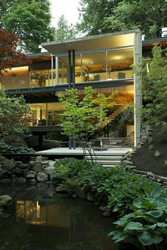 Pond side modern house