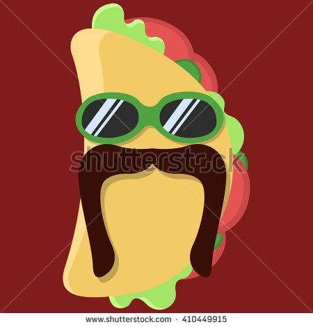 Vector taco cartoon. Taco with glasses. Taco with mustache. Taco isolated. Taco icon. - stock vector
