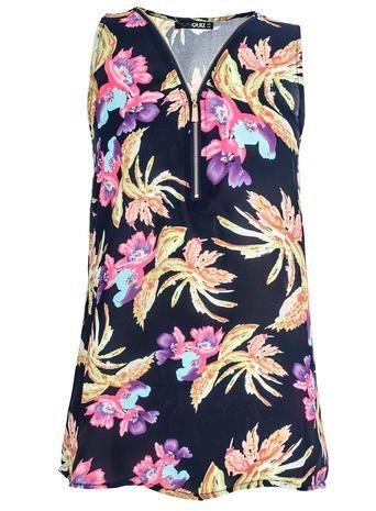 Quiz Chiffon Flower Zip Top