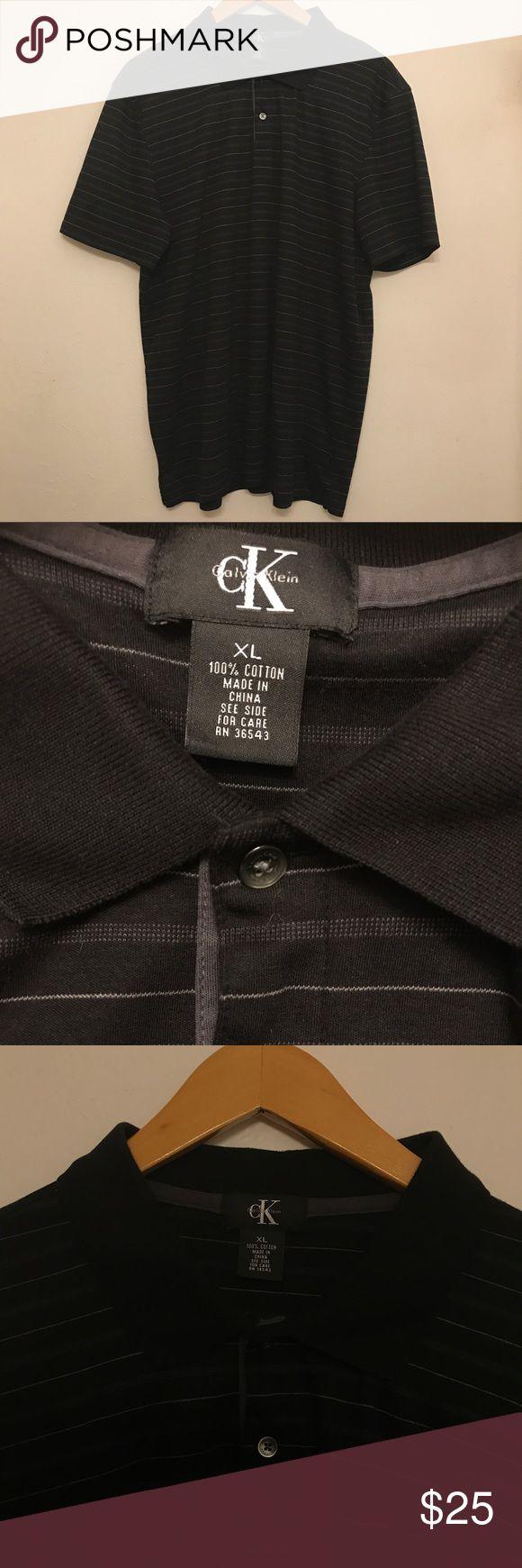 Men's XL Calvin Klein Striped Polo Shirt Xtra large men's polo shirt. Calvin Klein striped shirt. Good shirt for golfing in style or a shirt for work. 100% cotton. Very soft. Calvin Klein Shirts Polos