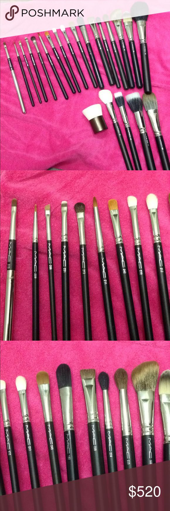 Mac set of 22 brushes Authentic full size Mac set of 22 brushes. All brand new without the sleeves . Check out the flawless bristles. Only flaw is the metal part has some scuffs because these were in a box moving around and they don't have original wrapper on  but bristles intact. Posh concierge will verify authenticity.Will not separate and price is firm. NO OFFERS ACCEPTED Brush# 183, 189, 209, 213, 259, 188, 231, 208, 187, 169, 272, 190, 192, 242, 249, 211, 217, 168, 225, 150 and 316 lip…
