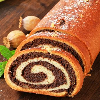 Poppy swiss roll - great for Christmas!