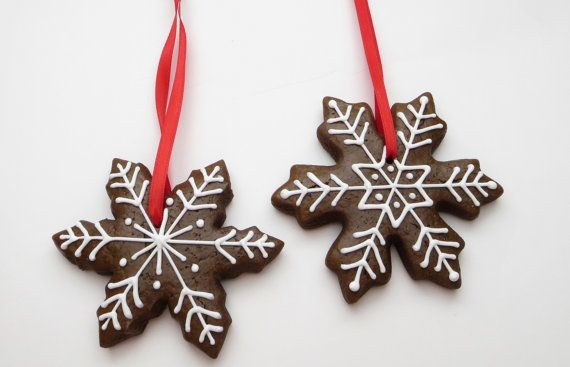 Snowflake decorated gingerbread cookie Christmas ornaments, 1 Dozen