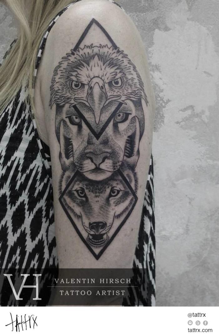 Valentin Hirsch Tattoo - Eagle Panther Wolf Totem, for Anna