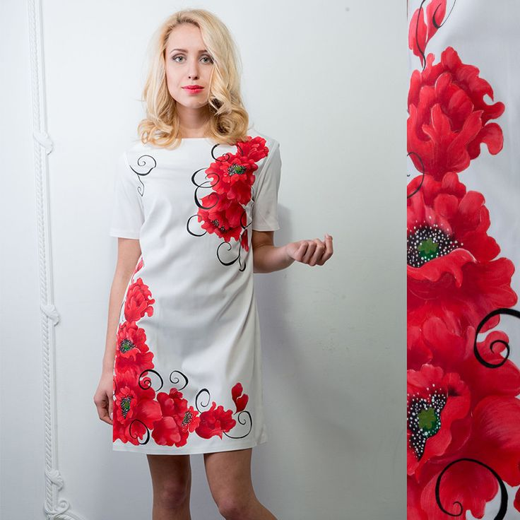 "Women's dress with hand-painting ""Poppies """