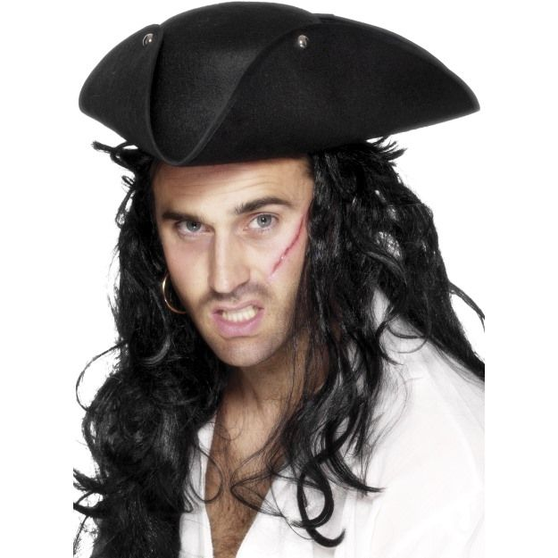 Pirate Tricorn Hat, Black