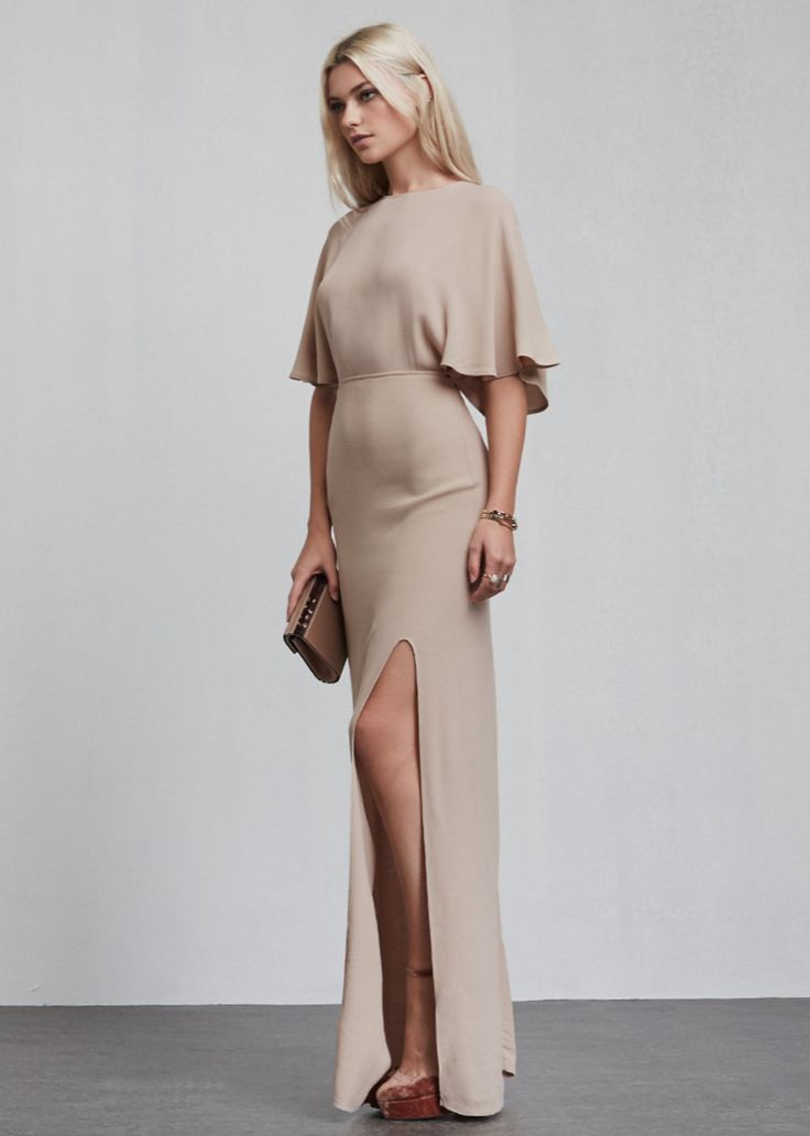 Latte Crepe Maxi Dress with Side Slit. Long & Short Bridesmaid dresses (and jumpsuits) in colors perfect for any fall/winter wedding (and even all year round).