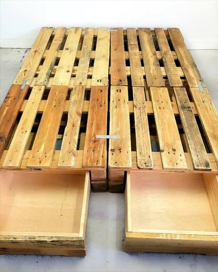 Pallet Toddler Platform Bed with Drawers - 25+ Renowned Pallet Projects & Ideas | Pallet Furniture DIY - Part 2