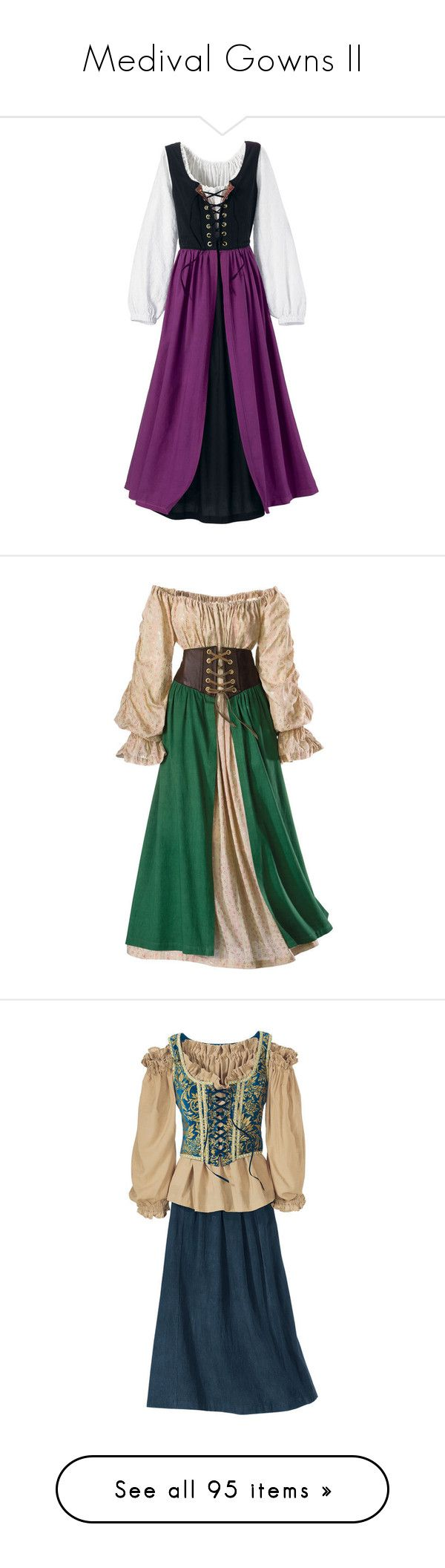 """""""Medival Gowns II"""" by savagedamsel ❤ liked on Polyvore featuring costumes, dresses, medieval, gowns, goth halloween costumes, goth costume, renaissance festival costumes, gothic halloween costumes, fairy costume and plus size"""