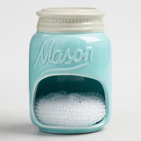 Blue Mason Jar Ceramic Sponge Holder | World Market