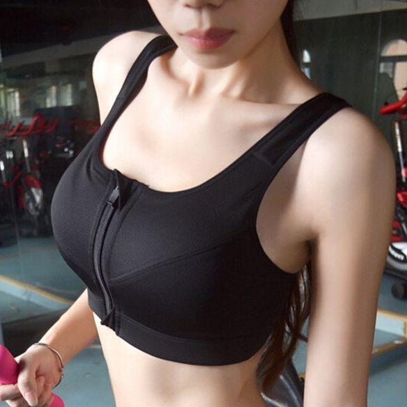 Stretch Sports Bra Vest No Rims Front Zipper Closure High Impact Fitness