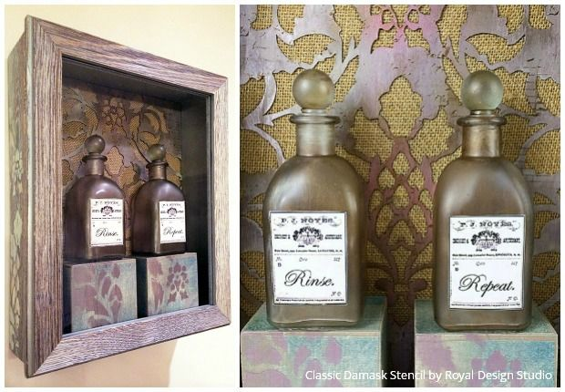 Stenciled apothecary bottle shadowbox DIY tutorial - great art for bathrooms!:
