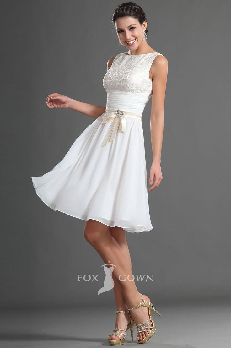 white boat neck sleeveless lace bodice above knee length a-line prom dress
