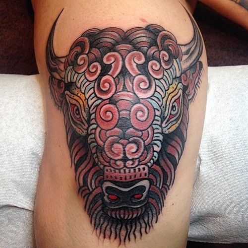 15 best buffalo tattoo images on pinterest buffalo for Traditional bison tattoo