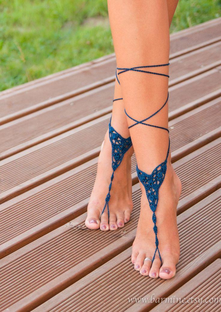 Crochet Navy Blue Barefoot Sandal, Foot jewelry barefoot sandal, Lace Up Sandals, Beach wedding barefoot sandals, Bridal barefoot sandals by barmine on Etsy https://www.etsy.com/listing/212922533/crochet-navy-blue-barefoot-sandal-foot