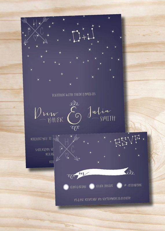 UNDER THE STARS Wedding Invitation/Response by PaperHeartCompany, $35.00