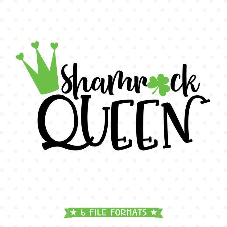 Shamrock SVG, Shamrock Queen SVG file, St Patricks Day svg, St Patricks Day Iron on transfer shirt design for women, heat transfer design by queenSVGbee on Etsy