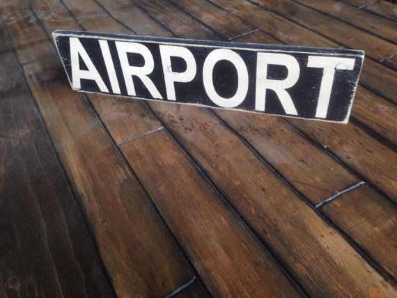 Airport Sign - Rustic Aviation Sign - Gift for Pilots - Hangar Wood Art - Travler Decor - Ships Free