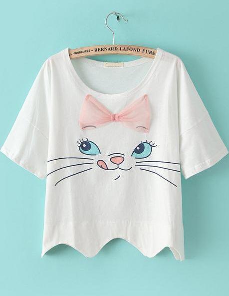White Short Sleeve Bow Cat Print Crop T-shirt - Sheinside.com. NOT JUST A CAT! It's Marie! ❤️