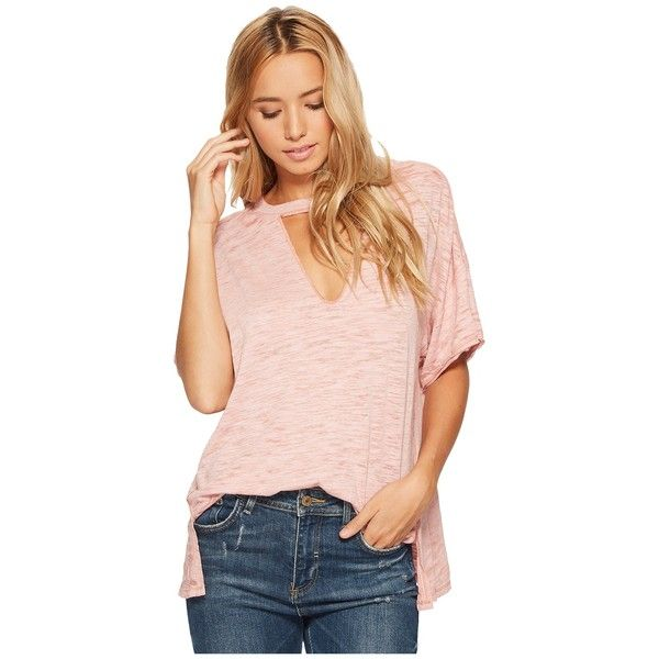Free People Jordan Tee (Nude) Women's T Shirt ($58) ❤ liked on Polyvore featuring tops, t-shirts, round neck t shirts, raw edge t shirt, cut out tee, short sleeve tee and free people tops