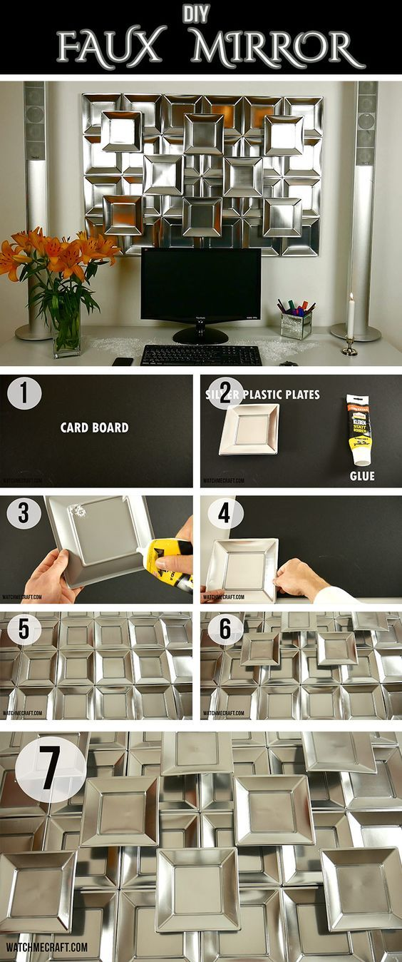 Build your own Faux Mirror to decorate your walls. The only things you will need is a cardboard, faux mirrors and adhessive glue. Easy and fast :)