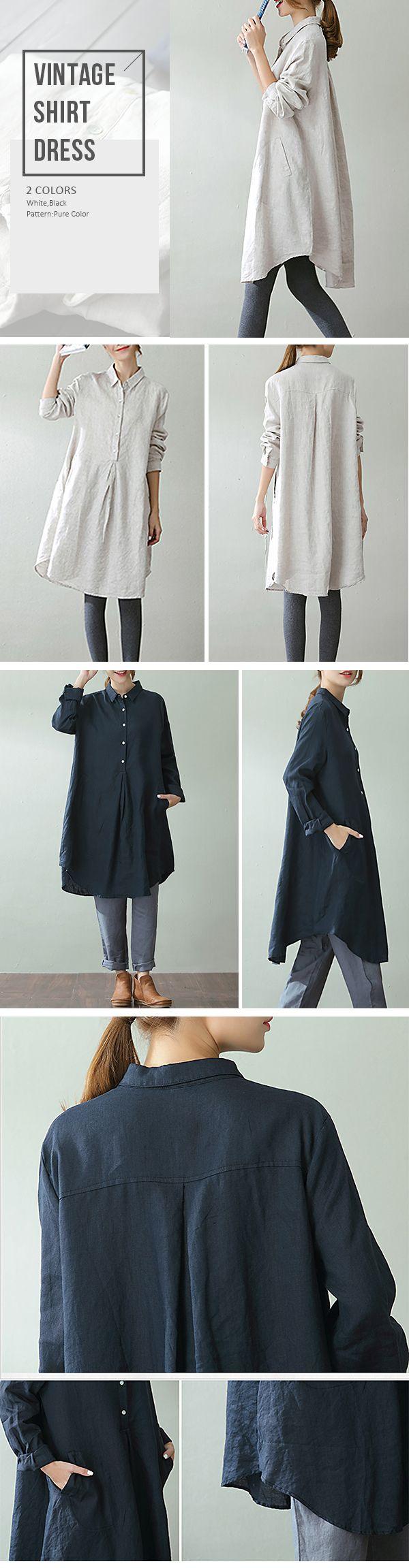 O-NEWE Vintage Lapel Pocket Shirt Dress For Women #fashion #style #art