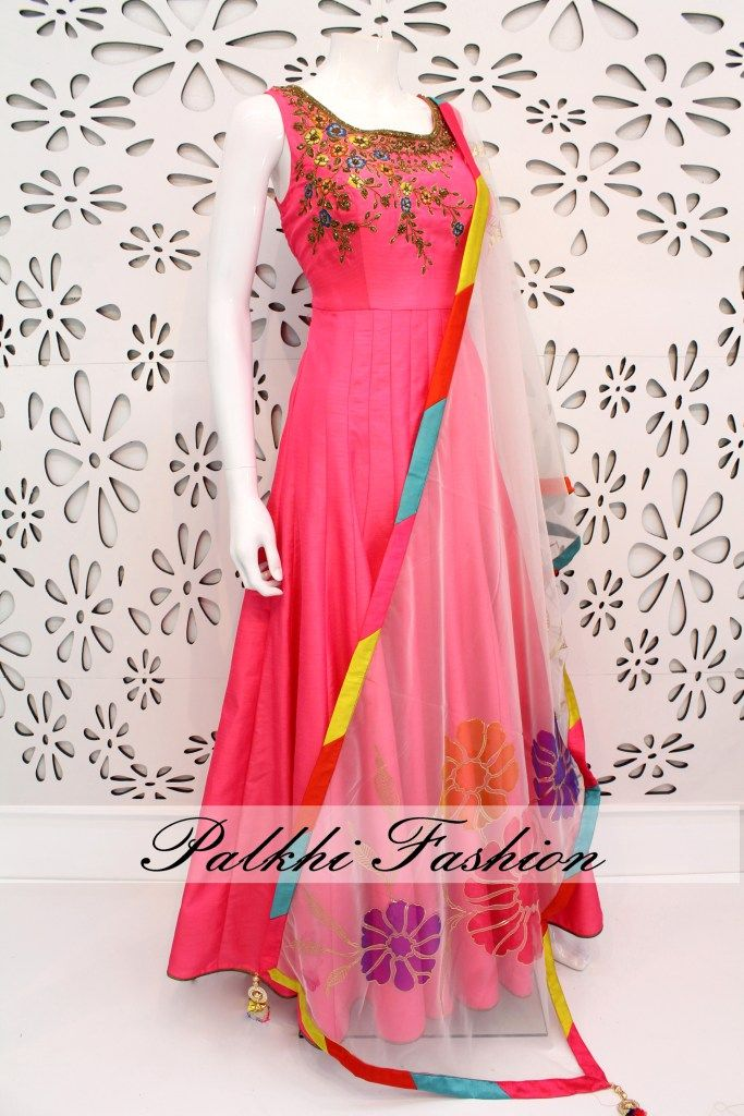 PalkhiFashion Exclusive Full Flair Deep Pink Soft Silk Outfit with Elegant Hand Work & Attractive Duppata.