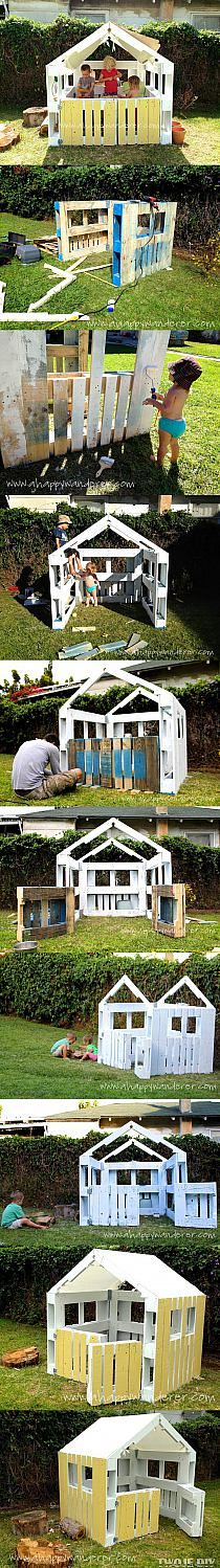 Simple Playhouse from Pallets! Or so it says I'm going to attempt to make this for mason