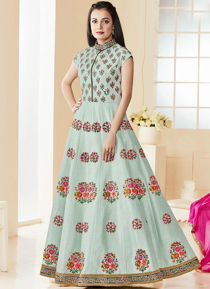 Diya Mirza Blue Art Silk Floor Length Anarkali Suit
