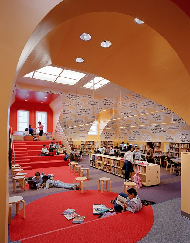 Library Design | School Library | Story time steps.