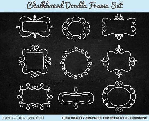 Clip Art Chalk Frames Doodle Borders Digital Frames Chalk Borders Digital Chalkboard Paper Included Instant Digital Downloadable Images