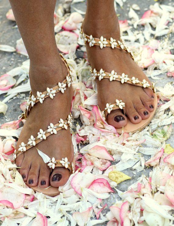 White leather boho bridal flower luxury chic by ElinaLinardaki