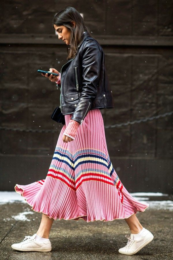 Pleated skirt with stripes and black Moto jacket - street style Pinterest: KarinaCamerino