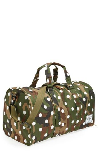 $80, Novel Duffel Woodland Camo Polka Dot One Size by Herschel Supply Co.. Sold by Nordstrom. Click for more info: http://lookastic.com/men/shop_items/81462/redirect