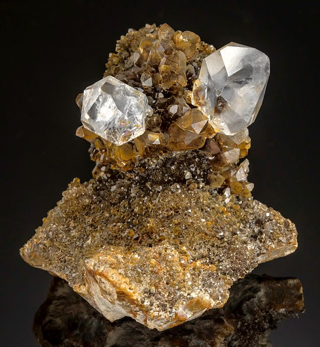 """Crystal clear Herkimer """"Diamond"""" crystals perched high atop Smoky Quartz! The Smoky Quartz displays inclusions of Anthraxalite and provides the perfect backdrop for the two colorless Herkimer Quartz crystals Diamond Mine New York"""