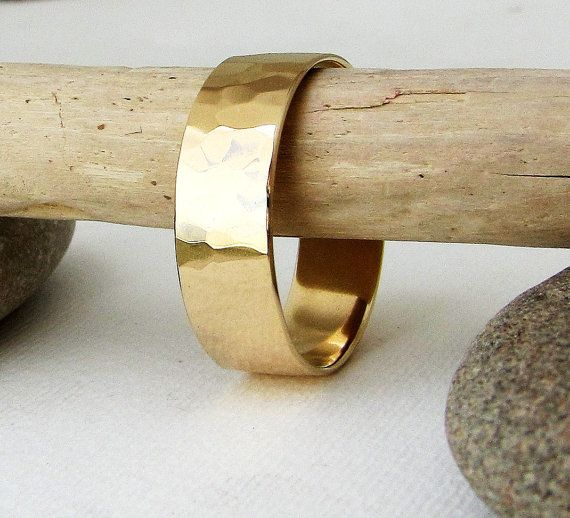 Mens Wedding Band Gold Wedding Ring Hammered Gold by GoldSmack