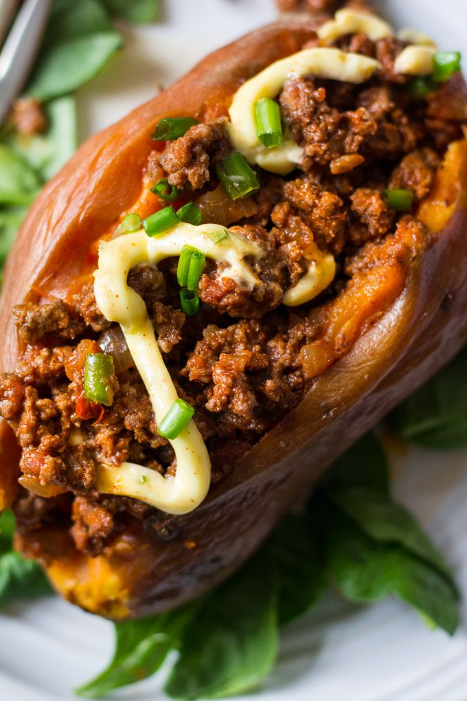 Easy Paleo Chili Stuffed Sweet Potatoes (Whole30) Recipe