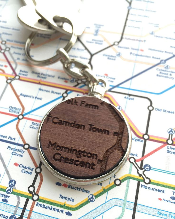 London Underground Keychain Laser Cut Walnut Keychain with Engraved London Underground Station And Logo in a Silver Plated Setting