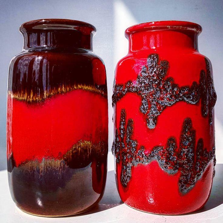 Scheurich 237-15 vases  #waves #brown #red #black #fatlava #scheurich #vase #flowers #midcentury #modern #wgp #westgermanpottery #vintage  #fatlava #70s #set #two #shadow #moderndesign #retro #70s #pottery #ceramic #vases