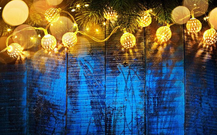 Download wallpapers 4k, Happy New Year, flashlights, wooden background, Merry Christmas, Xmas, blue background, fir branches
