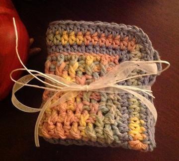 #HandmadeDishcloth, crochet dishcloth set, light blue, variegated  by #OnceUponARoll for $10.80