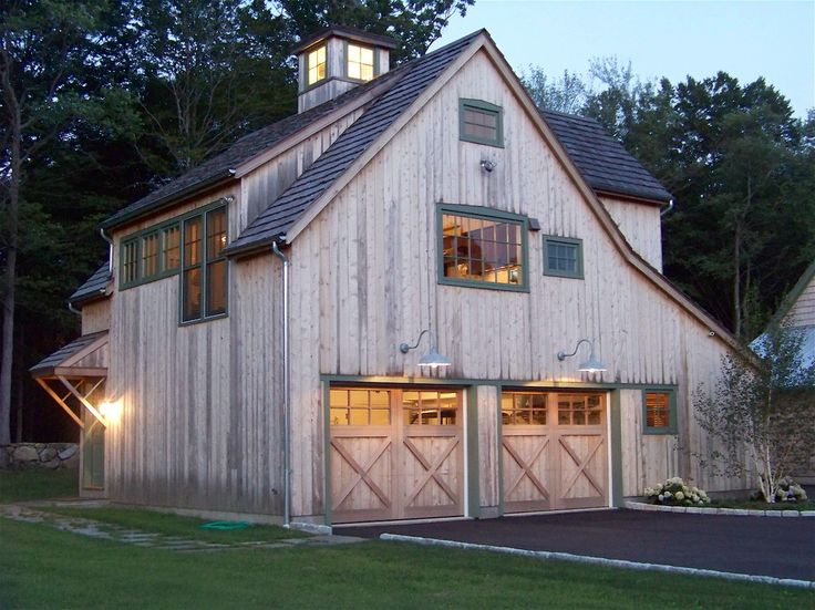Barn with Living Quarters Garage and Shed Rustic with Barn Carriage Doors Cupola Garage Green Painted