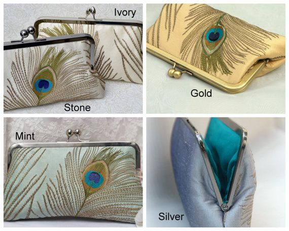 Peacock Wedding Purse Gold Peacock Bridal Clutch by ItsSoClutch